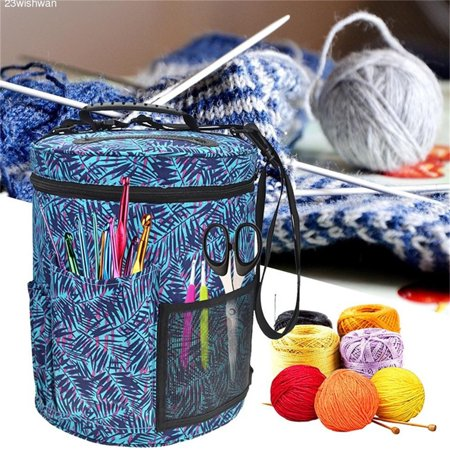 Knitting Bag For Yarn Storage Large-sized Cylinder Canvas Crochet Hook Woolen Yarn Storage Bag Tote