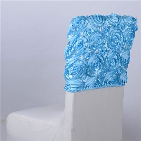 1 Day Ship (16 Inch x 14 Inch Rosette Satin Chair Top Covers (Light Blue), Ship in 1 Business Day. By)