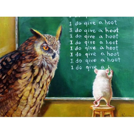 Class Clown Owl Mouse Whimsical Animal Classroom Humor Print Wall Art By Lucia Heffernan