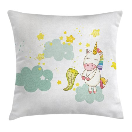Unicorn Throw Pillow Cushion Cover, Baby Mystic Unicorn Girl Sitting on Fluffy Clouds and Hunting Nursery Image, Decorative Square Accent Pillow Case, 16 X 16 Inches, Green Yellow, by Ambesonne (Baby On Cloud)