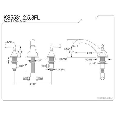 Kingston Brass KS5535FL Remplissage de baignoire romain r-pandu de 8 po - 18 po - Bronze huil- - image 1 de 2