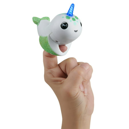 Fingerlings Light-up Narwhal - Glow in the Dark - Raya (Exclsuive) - Friendly Interactive Toy by WowWee