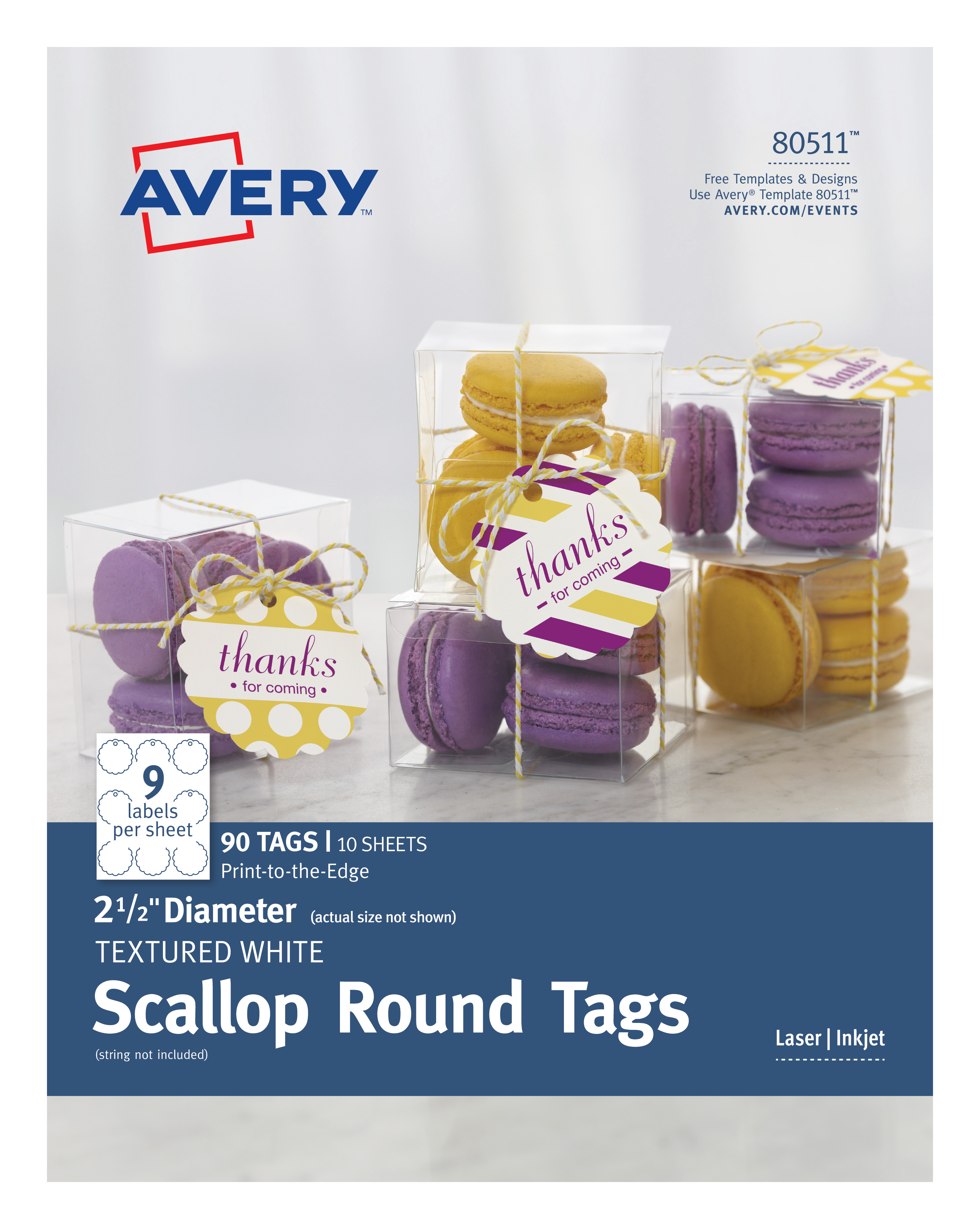 avery scallop round tags textured 2 1 2 diameter 90 tags 80511