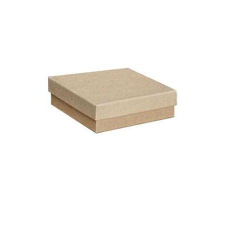 "Cotton Filled Kraft Jewelry Boxes - 3½"" x 3½"" x 1"