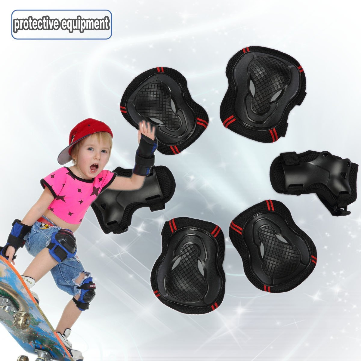 Bestmall Knee Elbow Wrist Protective Pads Sets,CoastaCloud 6pcs Protector Guard Pad