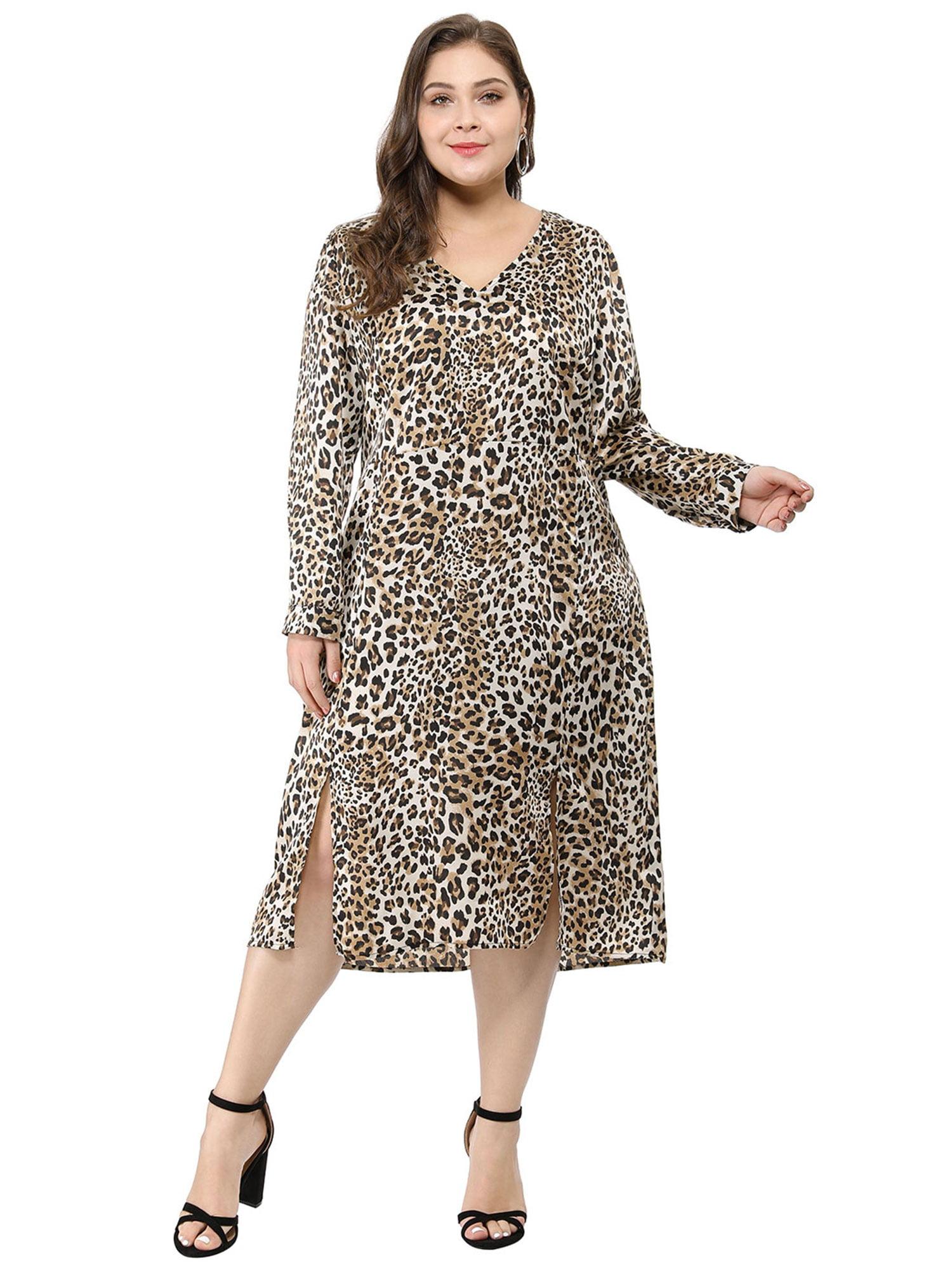 Women\'s Plus Size Split Tie Waist V Neck Leopard Dress Brown (Size 2X)