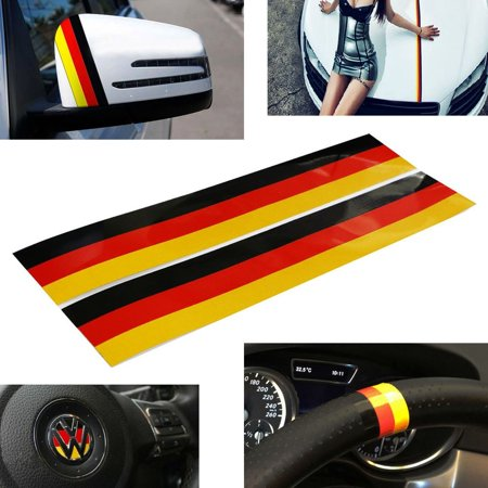 iJDMTOY (2) Germany Flag Color Stripe Decal Sticker For Euro Car Audi BMW MINI Mercedes Porsche Volkswagen Exterior or Interior Decoration