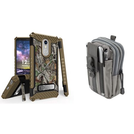 (Beyond Cell Military Grade [MIL-STD 810G-516.6] Kickstand Rugged Case (Tree Camo) with Gray Tactical EDC MOLLE Utility Waist Pack Holder Pouch, Atom Cloth for LG Stylo 4)