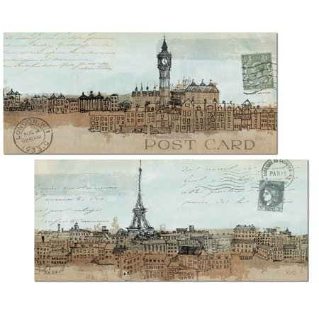 Beautiful Vintage Post Card Paris and London Sketch Prints by Avery Tilmon; Two 18x8in Poster Prints - Sketch London Halloween