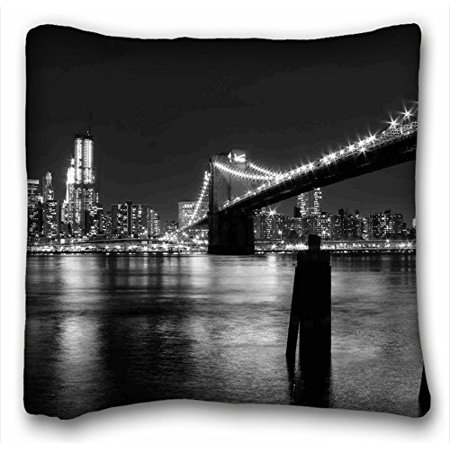 WinHome Home Decoration City New York Bridge Lights Black And White Throw Pillow Case Cases Cover Cushion Covers Sofa Size 20x20 Inches Two Side](Black Light Decorations Ideas)