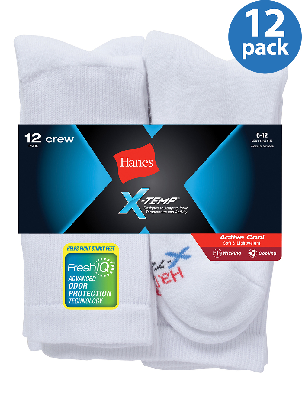 Men's X-Temp Active Cool Crew Socks-12 Pack
