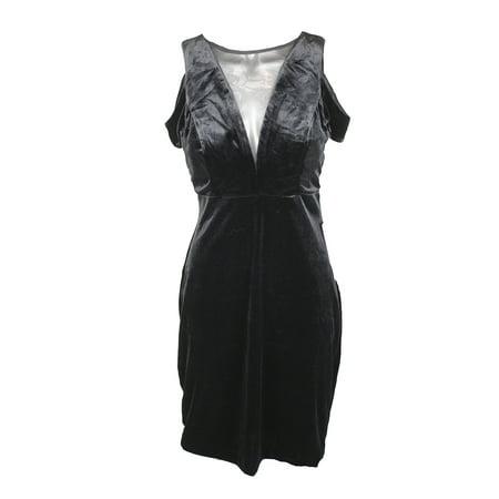Nightway Black Off-The-Shoulder Mesh Inset Velvet Sheath Dress 10 ()