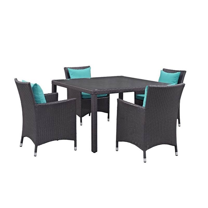 5 Piece Outdoor Patio Furniture Set with Dining Armchair and Dining Table in Turquoise