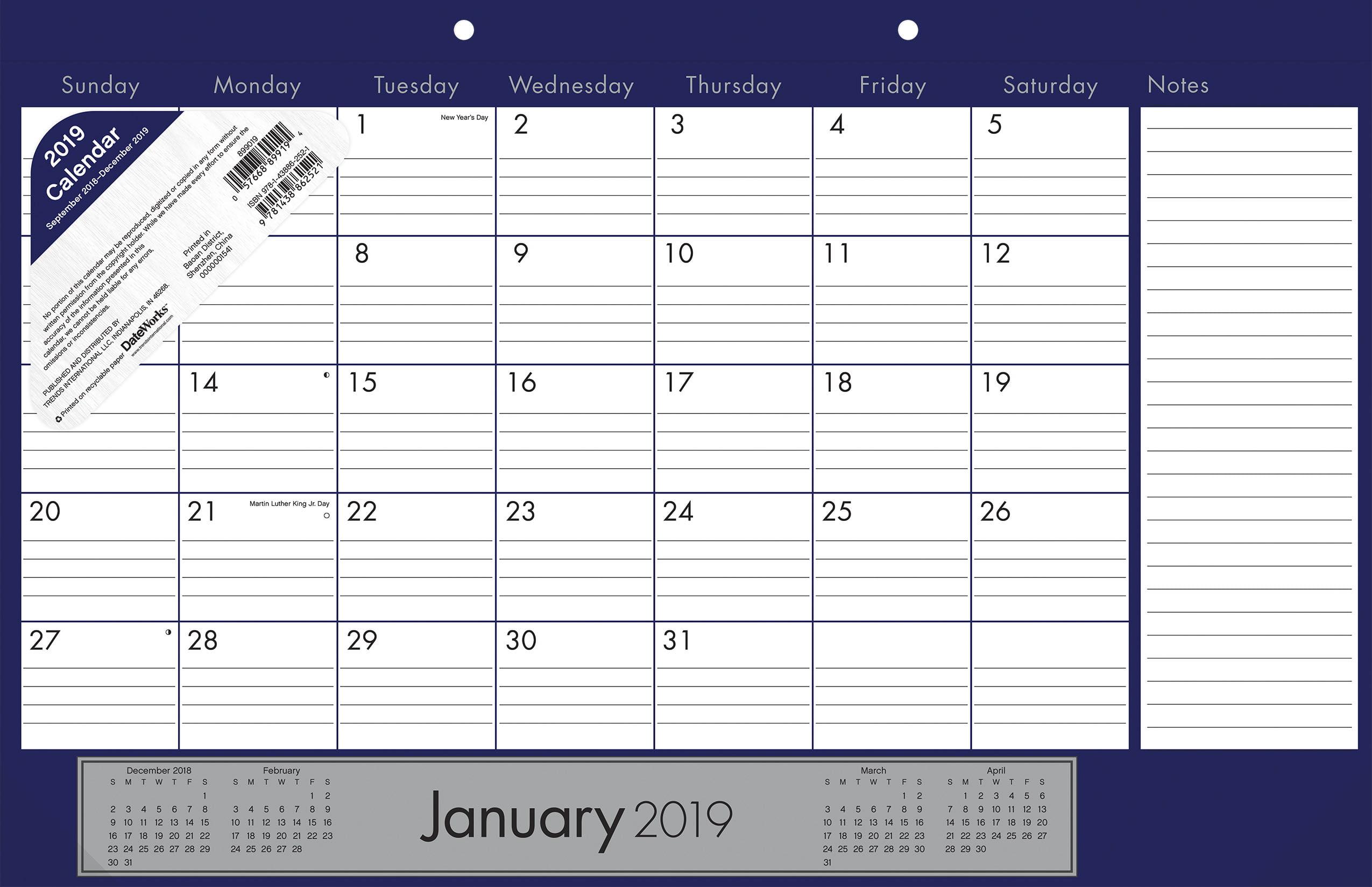 2019 Classic Desk Pad Calendar by Trends International