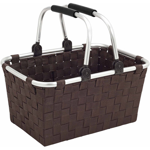 Woven Strap Tote with Folding Aluminum Handles, Large