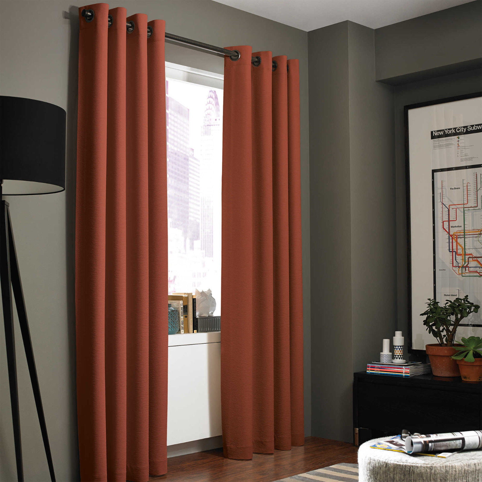 """(SSS) 2-PC Rust Solid Blackout Room Darkening Panel Curtain Set, Two (2) Window Treatments of 37"""" Wide x 84""""... by"""