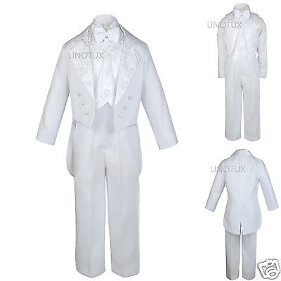INFANT TODDLER & BOY WEDDING FORMAL JACQUARD TAIL TUXEDO WHITE S M L XL 2T 3T-20 - Tail Tuxedo