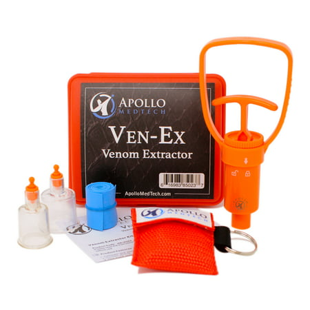 Ven-Ex Snake Bite Kit, Bee Sting Kit, Emergency First Aid Supplies, Venom Extractor Suction Pump, Bite and Sting First Aid for Hiking, Backpacking and Camping. Includes BONUS CPR face