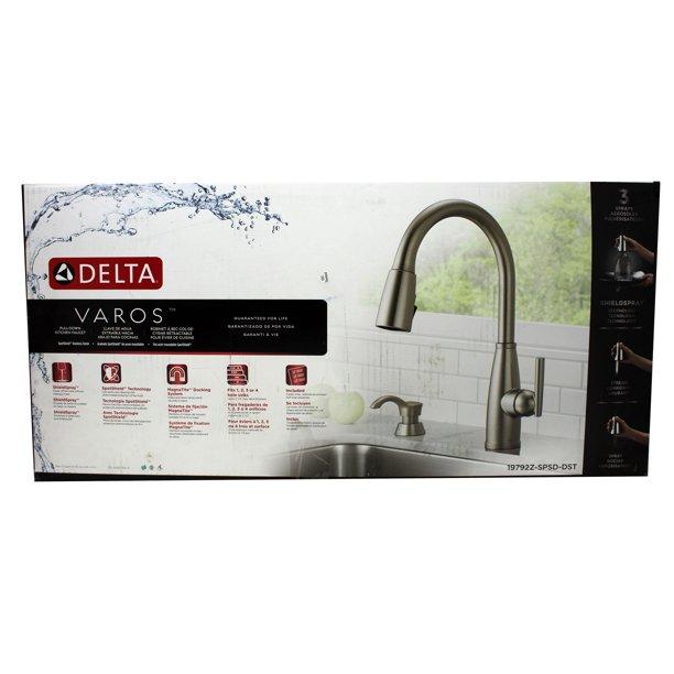 Delta Varos Pull Down Kitchen Faucet Nickel Finish Walmart Com Walmart Com