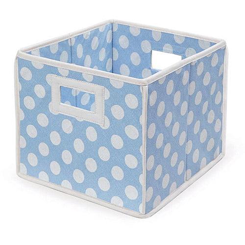 Badger Basket - Folding Basket, Blue Polka Dot