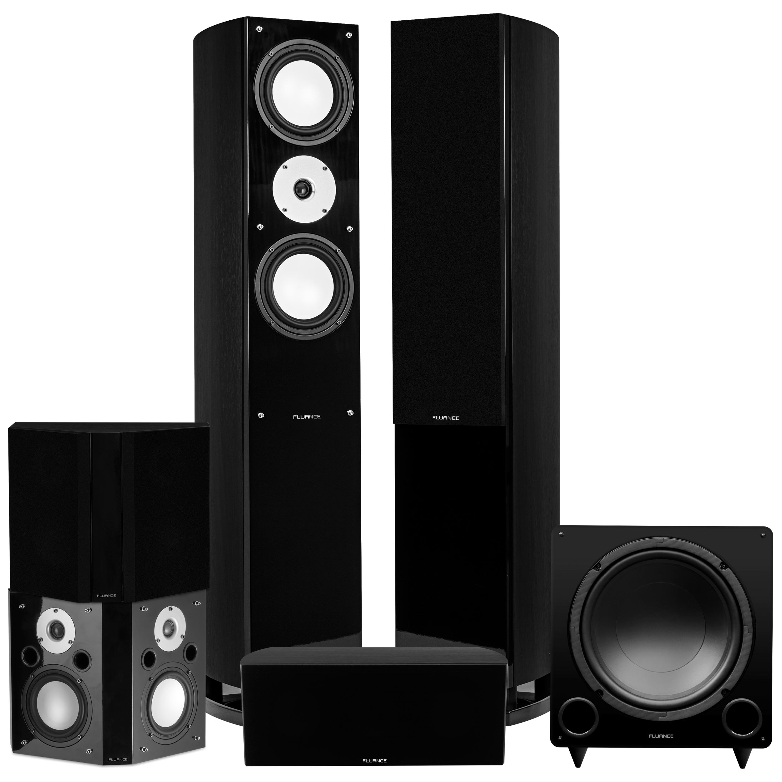 Fluance Reference Series Surround Sound Home Theater 5.1 Channel Speaker System including Three-way Floorstanding Towers, Center Channel, Bipolar Speakers and DB12 Subwoofer - Black Ash (XL51BB)