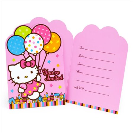 Balloon Invitations (Hello Kitty 'Balloon Dream' Invitations w/ Envelopes)