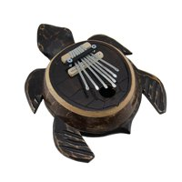Hand Carved Wood and Coconut Shell Sea Turtle Thumb Piano Karimba