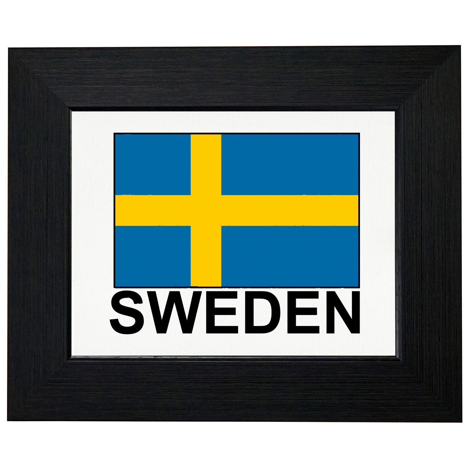 Sweden Flag - Special Vintage Edition Framed Print Poster Wall or Desk Mount Options