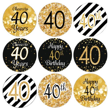 40th Birthday Party Favor Stickers | 216 Labels | Black and Gold Decoration Supplies - 40th Birthday Party Ideas For Wife