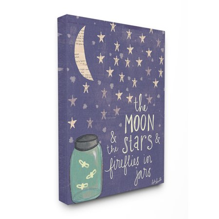 The Kids Room by Stupell Moon Stars Fireflies Oversized Stretched Canvas Wall Art, 24 x 1.5 x 30