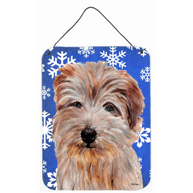 Carolines Treasures SC9784DS1216 Norfolk Terrier Winter Snowflakes Aluminium Metal Wall Or Door Hanging Prints - image 1 of 1