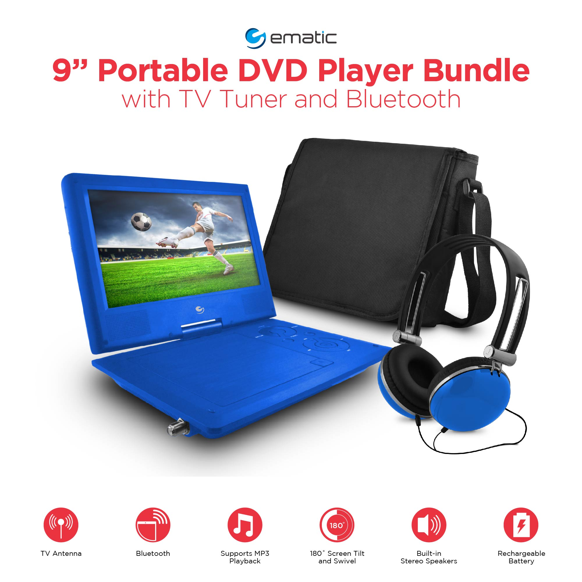 "Ematic 9"" Portable DVD Player with TV Tuner and Bluetooth"