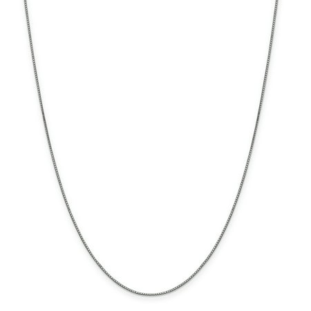 (Roy Rose Jewelry 10K White Gold .90mm Box Chain Necklace ~ Length 24'' inches)