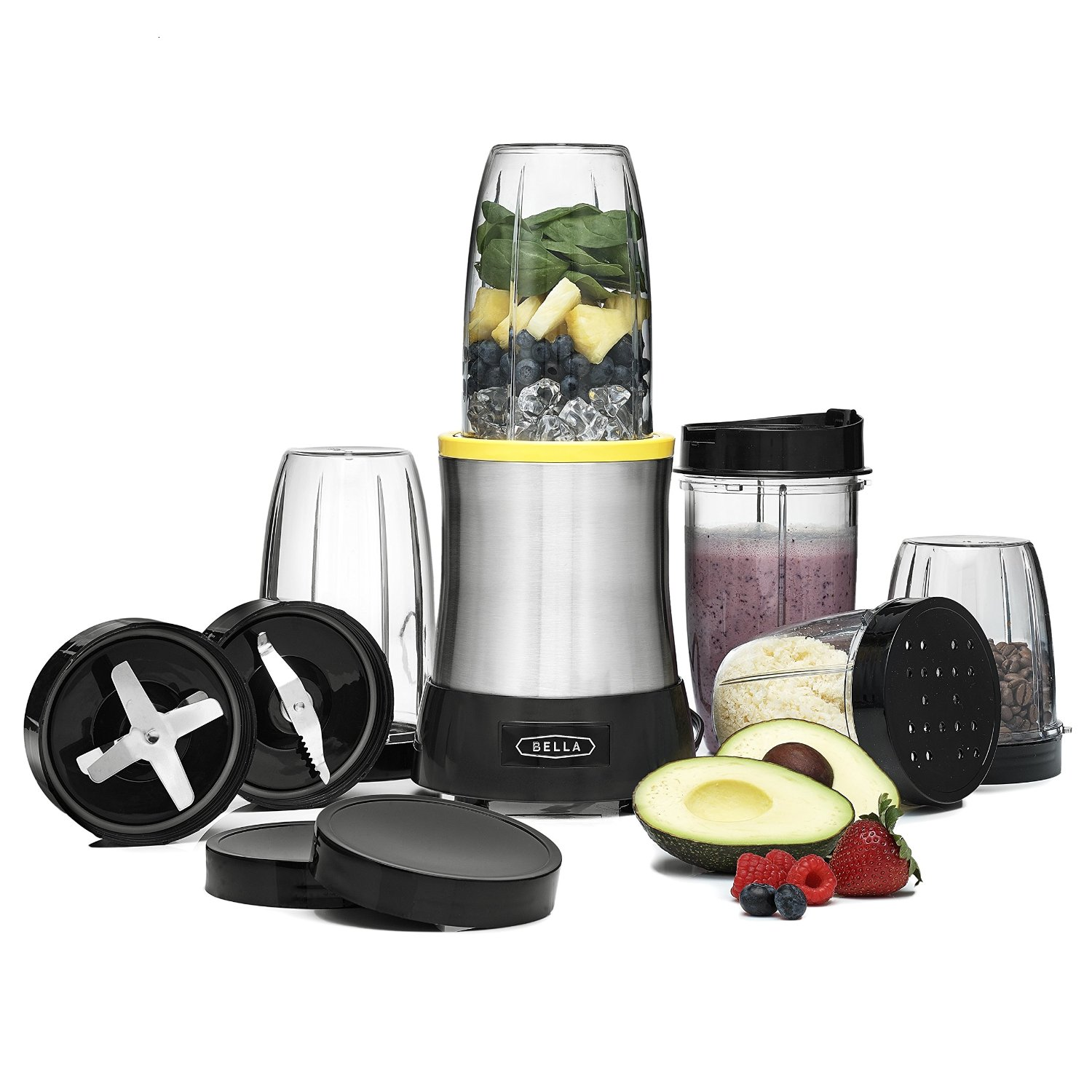 BELLA Rocket Extract PRO Power Blender, 15 Piece set, stainless steel