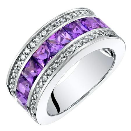 Sterling Silver Princess Cut Amethyst 3-Row Wedding Ring Band 2 Cts 2 Row Wedding Band Ring