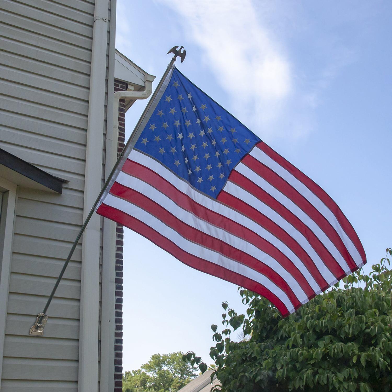 6/' Ft White Steel Flagpole Flag Pole kit Eagle Hardware Bracket Residential