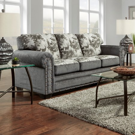 American Furniture Clics Model B8503 Elk River Lodge Sofa With Nail Head Accents