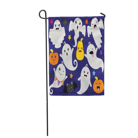 SIDONKU Monster Cute Halloween Ghosts and Ghouls Pumpkin Treat Trick Garden Flag Decorative Flag House Banner 12x18 inch - Cute Halloween Monsters