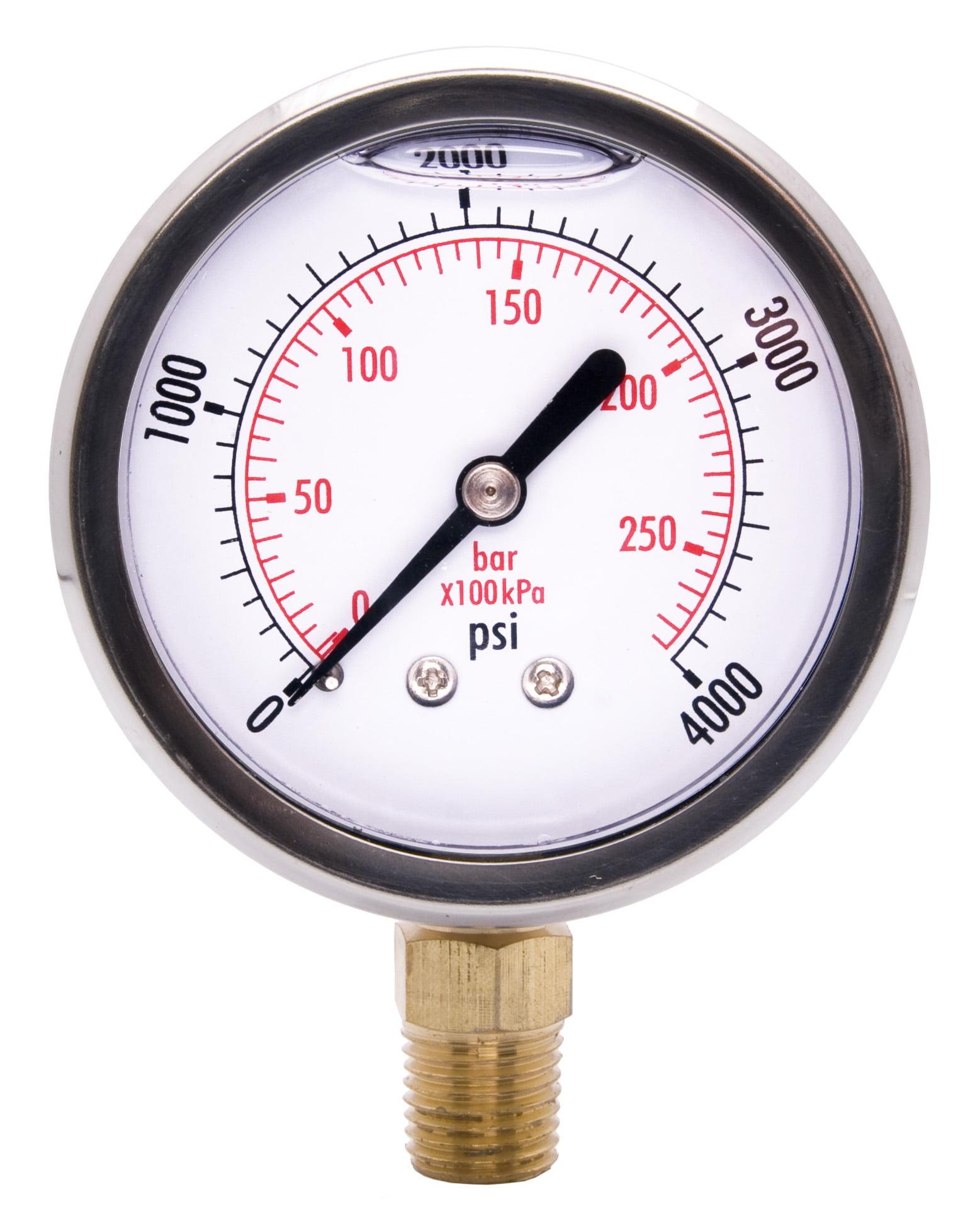 Stainless Steel lower mount 50mm Pressure Gauge swimming Pool Filter OIL FILLED