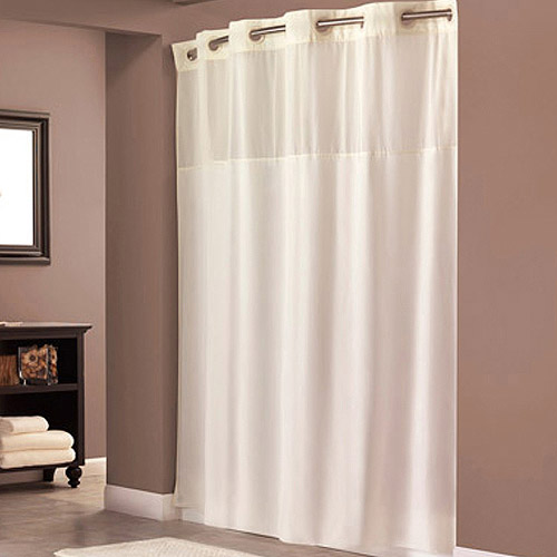 hookless beige polyester shower curtain - walmart