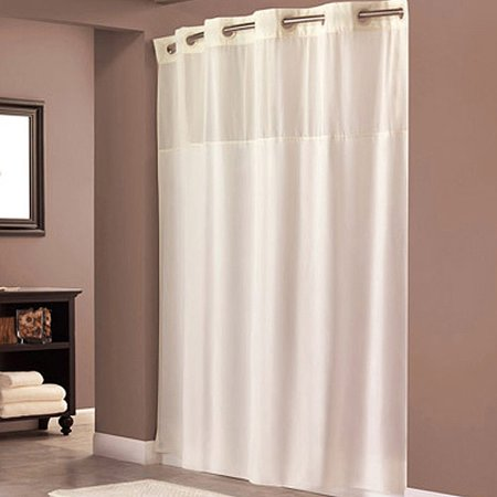 Hookless Beige Polyester Shower Curtain