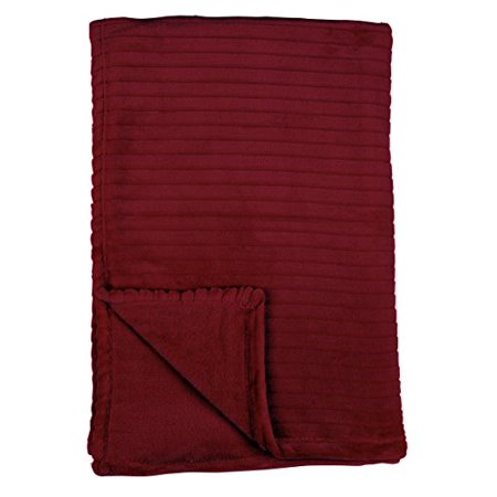 Family Pl Premium Ribbed Embossed Velvet Plush Ultra Soft Throw Blanket, 50 X 70 Inches (Ruby Red)