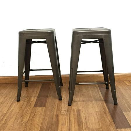 Miraculous Btexpert Industrial 24 In Metal Backless Counter Stool Creativecarmelina Interior Chair Design Creativecarmelinacom