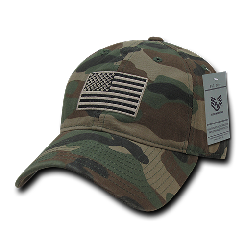 Rapid Dominance US USA American Tonal Flag Dad Caps Hats Washed Cotton Polo