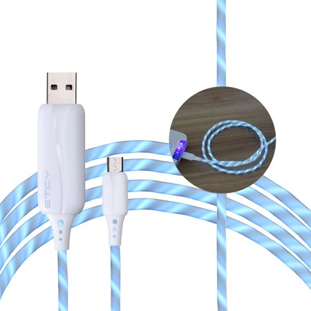 USB Light Cable, EL Wire Glow in Dark Power Line (80cm) Data Cable ...