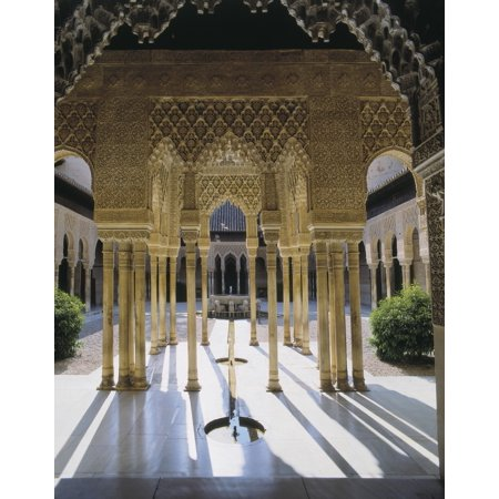 Alhambra Spain Andalusia Granada Alhambra Patio Of The Lions Hispano-Moresque Art Nasrid Dynasty Architecture  AisaEverett Collection Poster Print