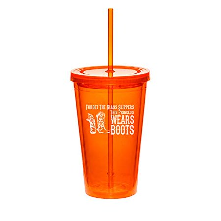 Wear Double Lock Brushing Boot - 16oz Double Wall Acrylic Tumbler Cup With Princess Wears Boots Cowgirl (Orange)