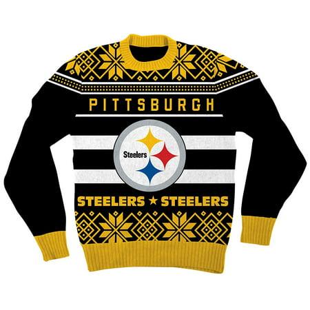 51e418abcb2 NFL Pittsburgh Steelers Logo Adult Black Football Ugly Christmas Sweater -  Walmart.com