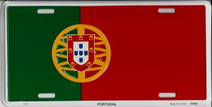 Portugal Flag Metal License Plate by Decor Time