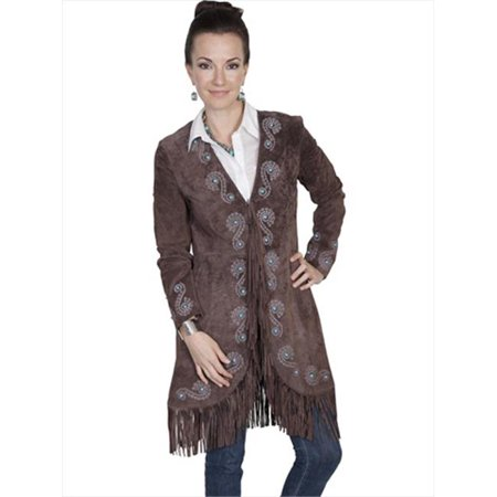 Womens Leather Fringe Embroidered Suede Coat - Expresso Boar Suede, Small